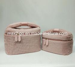珊瑚のピンクのバニーの毛皮の洗面用品のバケツのかわいい弓結び目のハンドルのクリスマスキャロルのすばらしいギフトの化粧品袋
