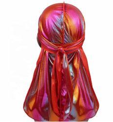 Hoed Bandanas Headwear van de Tulband Durags van het Af:drukken van de Mensen van de douane nam de Zijdeachtige de Afgedrukte Toebehoren van het Haar van de Golven van de Riemen van Durag van de Zijde van Mensen Lange toe