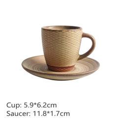 Племенные стиле керамические чашки кофе с форму диска керамики кружки молока