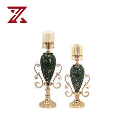 Nuovo salotto cinese decorazione Golden Home Romantico Verde scuro Candela cena luce di lusso matrimonio portacandele