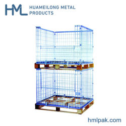 Plegable plegable apilable de metal de almacenamiento de palets de malla de alambre de acero jaula para la venta