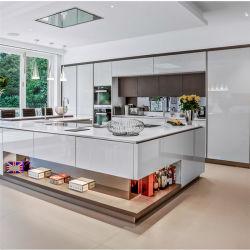 De Europese Keukenkasten van het Ontwerp van de Stijl 3D/4D met Dubbele Deur van de Kabinetten van de Muur van de Keuken van China van de Keukenkast van het Ontwerp van het Glas van het Frame van het Aluminium de Modulaire kiezen de Gootsteen van de Deur uit