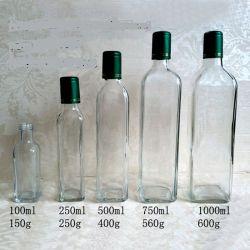 100ml/250ml/500ml/750ml/1000ml botella de aceite de vidrio transparente de vidrio/