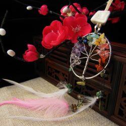 Exquise combinaison de pierre de plumes colorés cadeau Mode bijoux collier