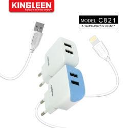 デュアル USB 充電式充電式壁面携帯用 iPhone 充電器セット