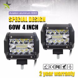 Commerce de gros Super Bright Mini 60W 4inch 6000lm LED 12V La barre de feux de travail moto