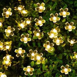 Строка цветов солнечной энергии света 22FT 50 LED Вишня цветки String освещения открытый водонепроницаемый на солнечной энергии волшебная теплого белого света для использования вне помещений, сад, внутренний дворик