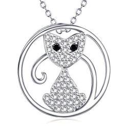 Dierlijke Halsband 925 van de Kat van het Katje van het Kristal van CZ Leuke Echt Zilver