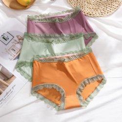 Plus Size 여성용 S 섹시한 레이스는 아이스 실크실크스를 매끄럽게 팬타이스 편안한 속옷 허리 순면 통기성 브리프