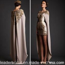 Applique en deux pièces spécial de robes d'usager de bal d'étudiants de Krikor Jabotian avec la robe de soirée formelle de bal d'étudiants de mini châle détachable de longueur de talon D2008
