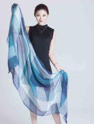 100%Algodón colorante de hilo de la bufanda de la mujer