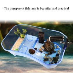 Tank van de Vissen van de Doos van het Fokken van de Schildpad van de hoogste Kwaliteit de Kleine Plastic Open met het Zonnebaden Tank van de Doos van het Aquarium van de Schildpad van het Platform de Reptiel Neergestreken