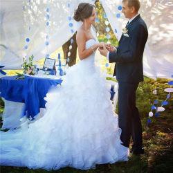 Weiße Nixe-Hochzeits-Kleid-Schatz-Sleeveless Reißverschluss-Rückseiten-Fisch-Endstück-multi Schicht-Fußleisten-heirateten afrikanische heiße Verkaufs-Hochzeits-Kleider die Mädchen angepasst gebildet zu Measur