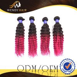 Malaysian Ombre vierge de couleur des cheveux afro curl