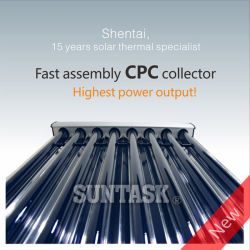 High Efficiency Fast Assembly CPC Heat Pipe Collector with Solar Keymark (SHC-24)