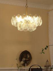 Französisches Schlafzimmer-Leuchter-einfaches modernes Esszimmer-Lampen-Shell-Glaskristalllampen-Licht-amerikanischer Wohnzimmer-Hall-Luxuxleuchter