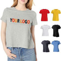 Mayorista de granel imprimir en blanco de algodón 100% de las mujeres Camiseta de manga corta con su logo