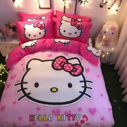 Comercio al por mayor en Stock Cute Hello Kitty imprimir 100% Algodón Sábana conjuntos de ropa de cama para niños