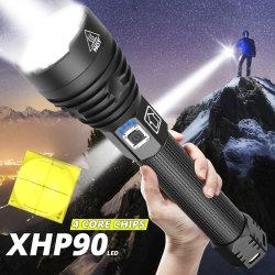 Potência elevada Xhp90 Lanterna LED recarregável USB Zoom Lanterna impermeável com 26650 18650 para camping