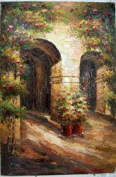 従来のヨーロッパの庭の景色のキャンバスの壁の芸術の装飾の油絵