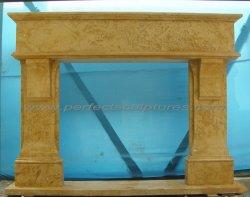 Pulido de alta chimenea de mármol beige amarillo manto para interiores (QY-LS047A)