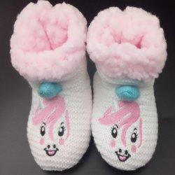 Joli motif animal tricotés à la main de l'hiver chaud Bébé Nourrisson Crochet chaussons chaussures