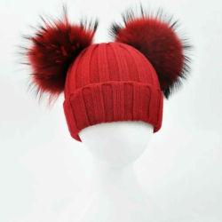 Мода женщин зимой трикотажные шапки с меховой Pompom Beanies