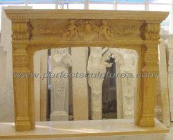 彫刻された花の天使の図が付いている黄色い石の大理石の暖炉 (QY-LS235)
