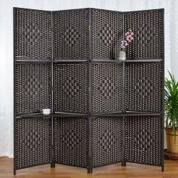 Amazon Popular de 6 pies de altura Rattan divisor de la habitación con 2 estantes de las pantallas de visualización