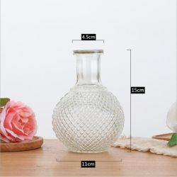 Jarrón de vidrio acanalado transparente de alta calidad estilo nórdico de lujo
