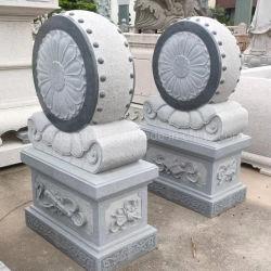 Tambor grande abrazando con forma de cojinete de piedra Carving China Bao Gu Shi para la Puerta del Templo Use ornamentos de Piedra del Templo