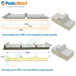 高密度ポリウレタンPIR/PU/PURは屋根または壁のための薄板にされたサンドイッチパネルを絶縁した
