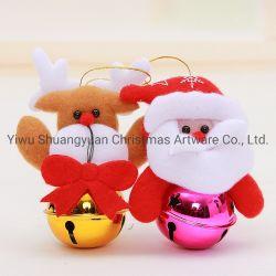 12*10cm Weihnachtsrotes glänzendes hängendes Metall Bell mit Puppe-Rotwild-Weihnachtshängenden Verzierungen