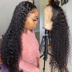 Comercio al por mayor densidad de 200% 13X6 delantera de encaje transparente saltarinas Afro Natural rizado peluca cabello humano.