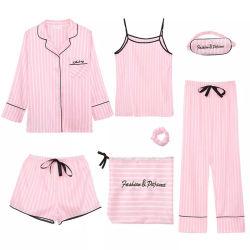 L'insieme sexy stabilito della biancheria del raso di Pijamas Femme del vestito all'ingrosso di abitudine 7 per la seta delle donne carica i pigiami