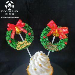 Мини-пластмассовых Рождественский венок торт украшения