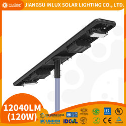 Amostra grátis 8m 50W LED Solar Luz de rua, o controle sem fio integrada lâmpada economizadora de energia da bateria