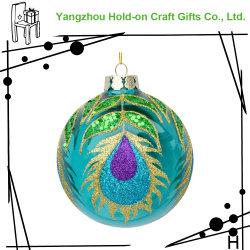 Innendekoration der Glaskugel mit dem hellen blaugrünen Pfau-Endstück-Entwurf geeignet für Weihnachten und verschiedene Feiertage
