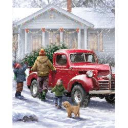 سيارة حمراء عيد ميلاد المسيح لوحة ماسية شجرة عيد الميلاد اللوحة ماسية عيد الميلاد لوحة ماسية عائلية