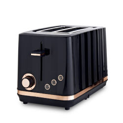 Tostadora de plástico de 2 cortes para desayuno en cocina con diseño de línea de corriente CE/GS/ETL/CB (YK-668 NEGRO)