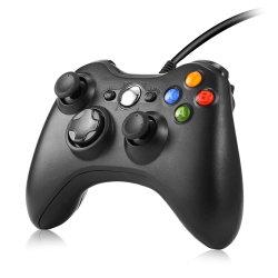 O controlador de jogos com fio USB para xBox 360 vidros Gamepad Joystick PC