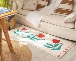 Nordic Plüsch Schlafzimmer Wohnzimmer Boden Teppich Floral Haushalt Bett Berber Fleece Anti-Rutsch-Küchenmatte Lang Badezimmer Teppich