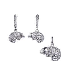 2020 925純銀製のトカゲの動物の宝石類は女の子のためにセットした