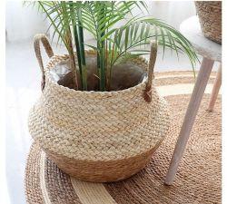 Mrosaa 접이식 천연 플라워 포트 갈매스 위커 바구니 홈 장식 정원 세탁소 대나무 갈매기 보관 바구니