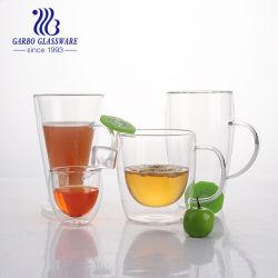 Impressão personalizada de alta qualidade 400ml chávena de chá de vidro de parede dupla Café 14oz caneca de vidro de dupla camada de vidro potável (GB510010400)