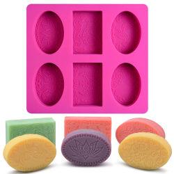 DIYのハンドメイドの石鹸作成のための習慣6キャビティシリコーンの石鹸型