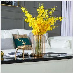 Potenciômetro de flores de vidro transparente para casa e decoração de mesa