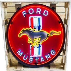 MOQ 드롭 배송 도매 중국 공장 가격 실제 유리 광고 주문 차고 Mustang Neon 사인 라이트
