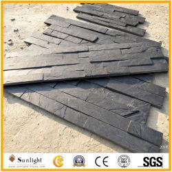 Barato preço preto natural da cultura de ardósia pedra para revestimento de paredes