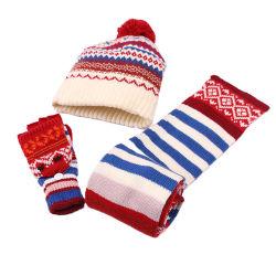 As crianças de venda quente Beanie Inverno bebé quente de Inverno de chapéu e Cachecol definir com Faux Bolas de peles com pêlo